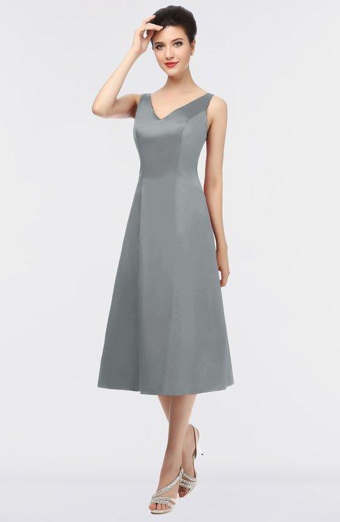 ColsBM Joanna Frost Grey Mature A-line V-neck Zip up Plainness Bridesmaid Dresses