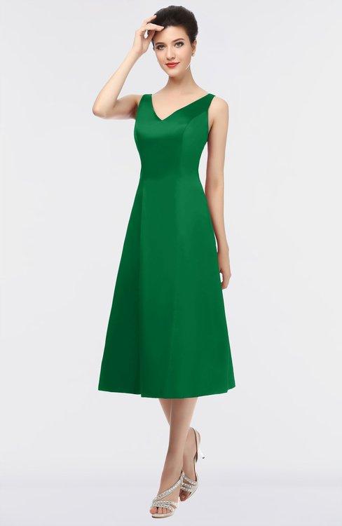 ColsBM Joanna Green Mature A-line V-neck Zip up Plainness Bridesmaid Dresses