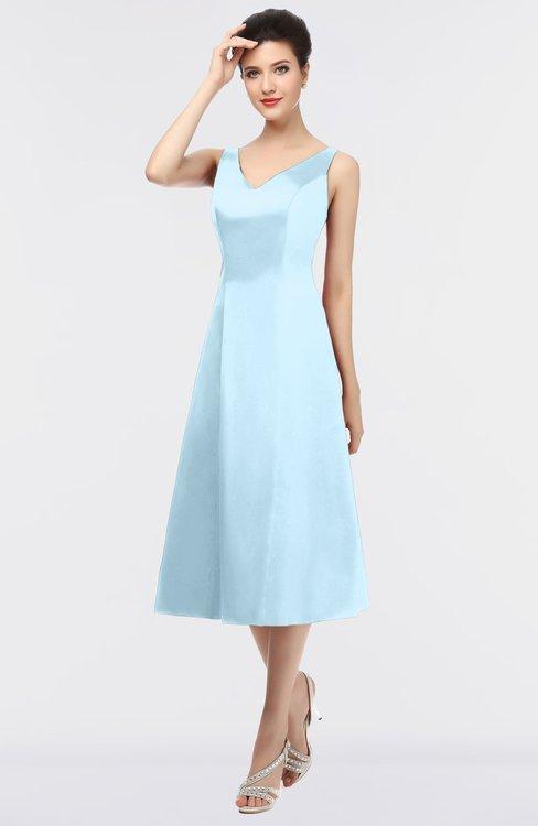 ColsBM Joanna Ice Blue Mature A-line V-neck Zip up Plainness Bridesmaid Dresses