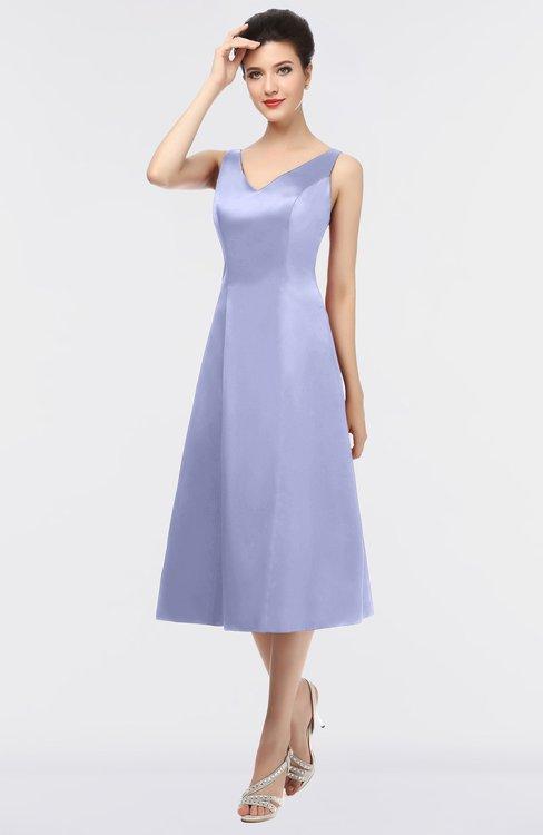 ColsBM Joanna Lavender Mature A-line V-neck Zip up Plainness Bridesmaid Dresses