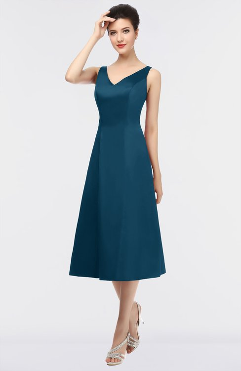 ColsBM Joanna Moroccan Blue Mature A-line V-neck Zip up Plainness Bridesmaid Dresses