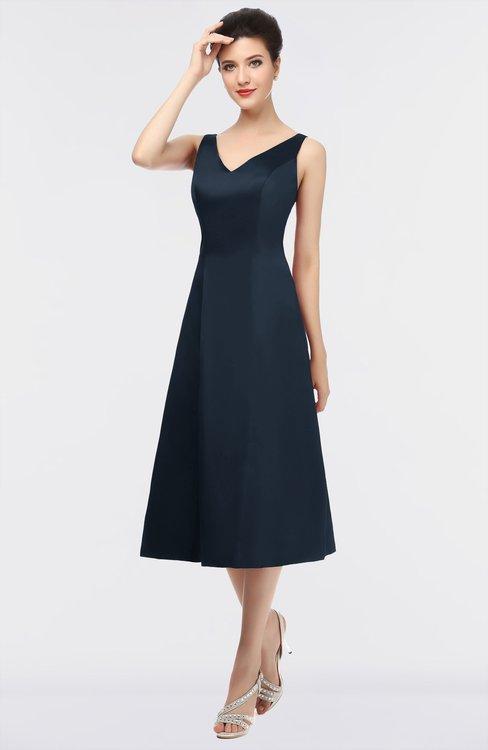 ColsBM Joanna Navy Blue Mature A-line V-neck Zip up Plainness Bridesmaid Dresses