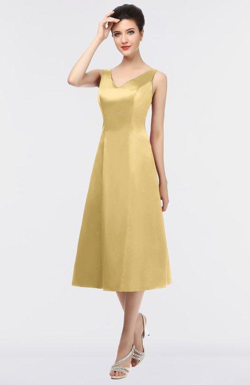 ColsBM Joanna Ochre Mature A-line V-neck Zip up Plainness Bridesmaid Dresses