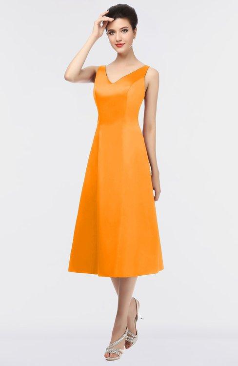 ColsBM Joanna Orange Mature A-line V-neck Zip up Plainness Bridesmaid Dresses