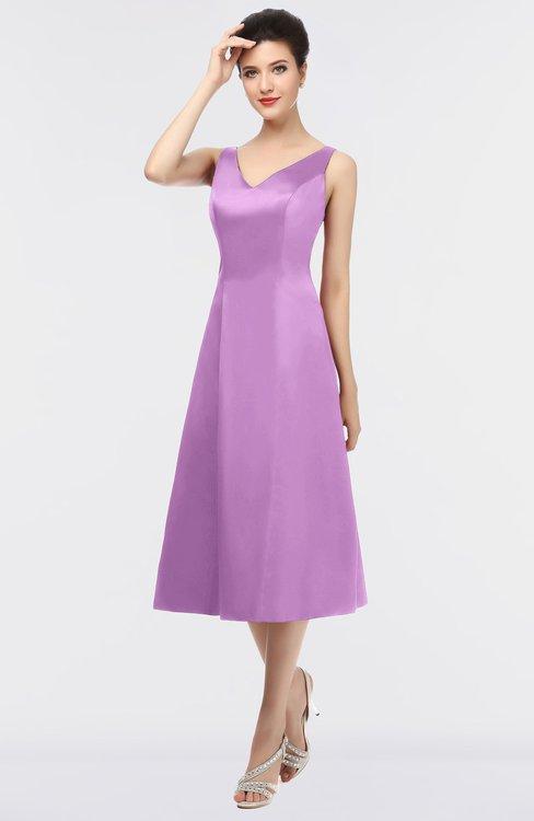 ColsBM Joanna Orchid Mature A-line V-neck Zip up Plainness Bridesmaid Dresses