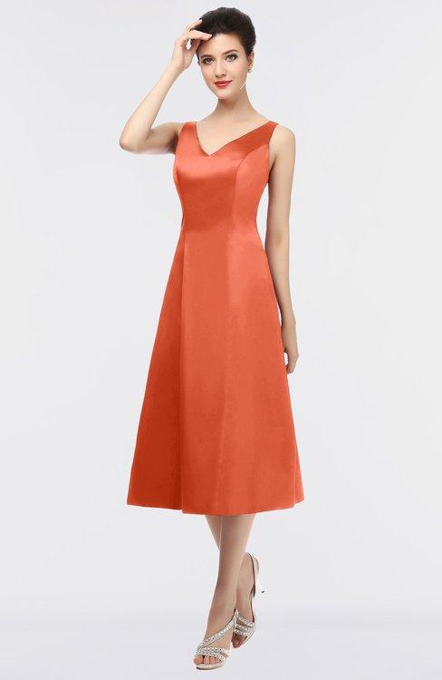 ColsBM Joanna Persimmon Mature A-line V-neck Zip up Plainness Bridesmaid Dresses