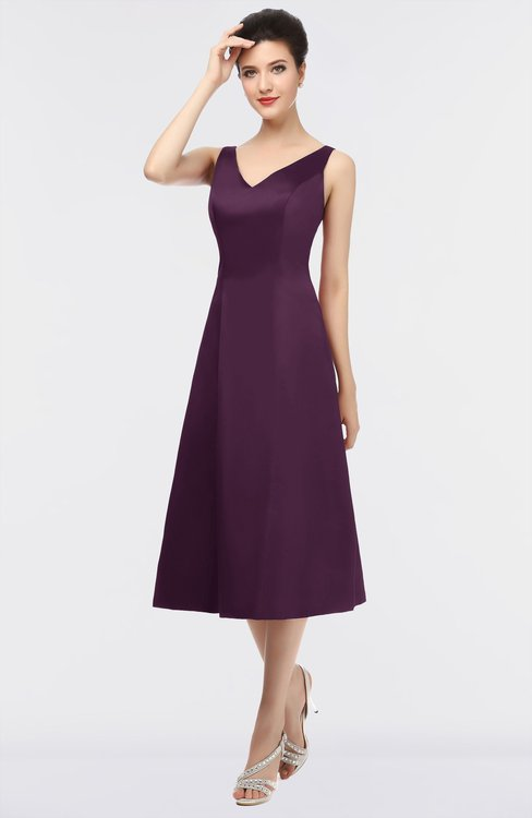 ColsBM Joanna Plum Mature A-line V-neck Zip up Plainness Bridesmaid Dresses