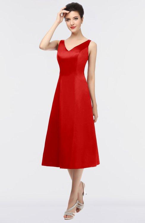 ColsBM Joanna Red Mature A-line V-neck Zip up Plainness Bridesmaid Dresses
