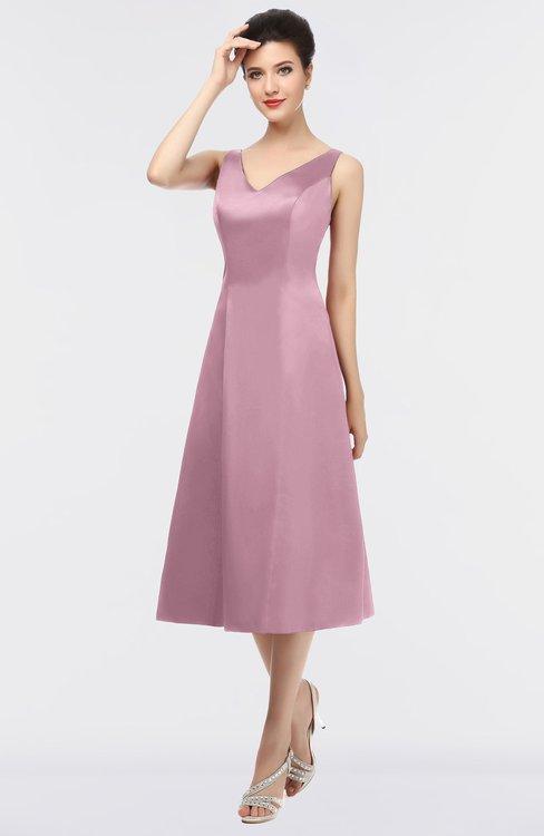 ColsBM Joanna Silver Pink Mature A-line V-neck Zip up Plainness Bridesmaid Dresses