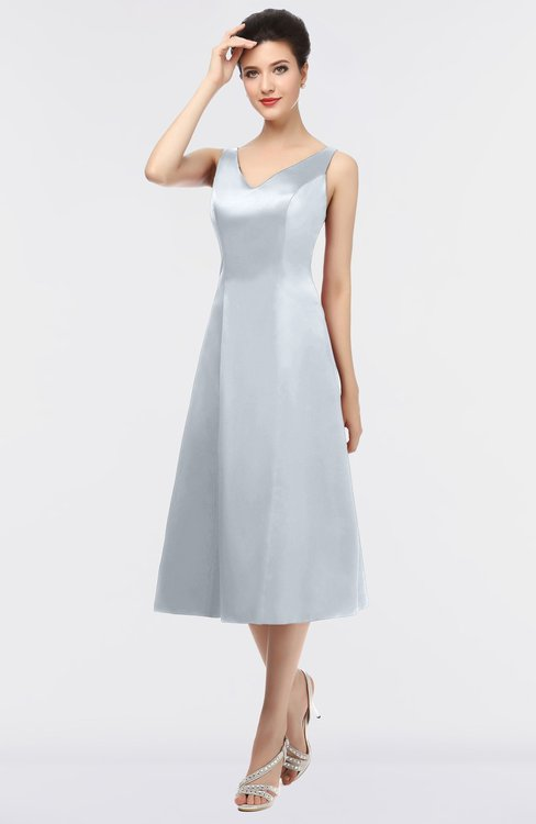 ColsBM Joanna Silver Mature A-line V-neck Zip up Plainness Bridesmaid Dresses