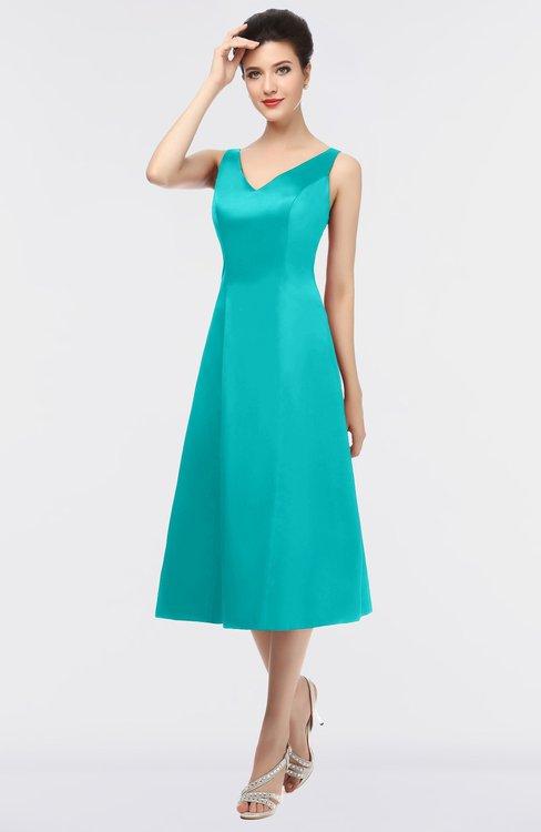 ColsBM Joanna Viridian Green Mature A-line V-neck Zip up Plainness Bridesmaid Dresses