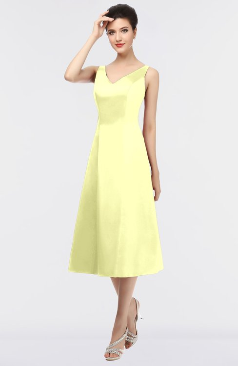 ColsBM Joanna Wax Yellow Mature A-line V-neck Zip up Plainness Bridesmaid Dresses