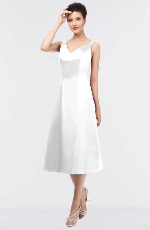 ColsBM Joanna White Mature A-line V-neck Zip up Plainness Bridesmaid Dresses