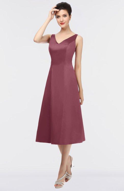 ColsBM Joanna Wine Mature A-line V-neck Zip up Plainness Bridesmaid Dresses