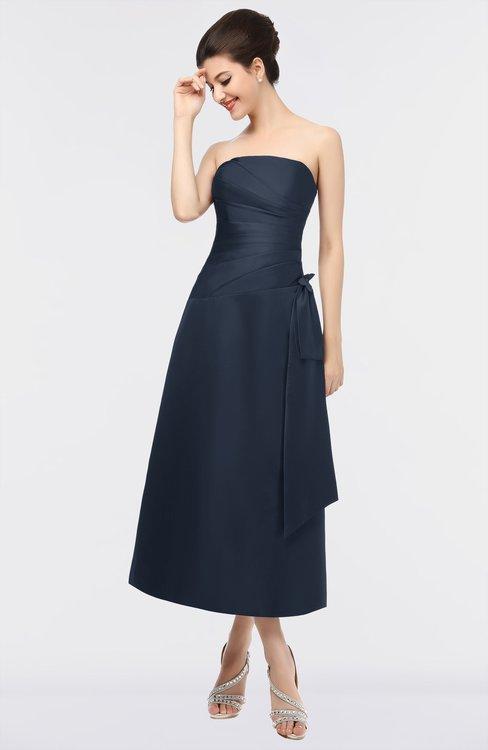 ColsBM Isabella Navy Blue Elegant A-line Bateau Sleeveless Zip up Ruching Evening Dresses