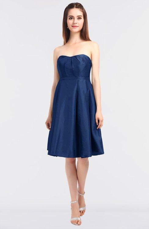 ColsBM Zaria Dark Blue Mature Strapless Zip up Knee Length Bow Bridesmaid Dresses
