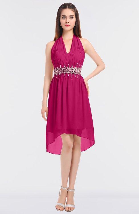 ColsBM Zuri Beetroot Purple Glamorous A-line Halter Sleeveless Zip up Appliques Bridesmaid Dresses