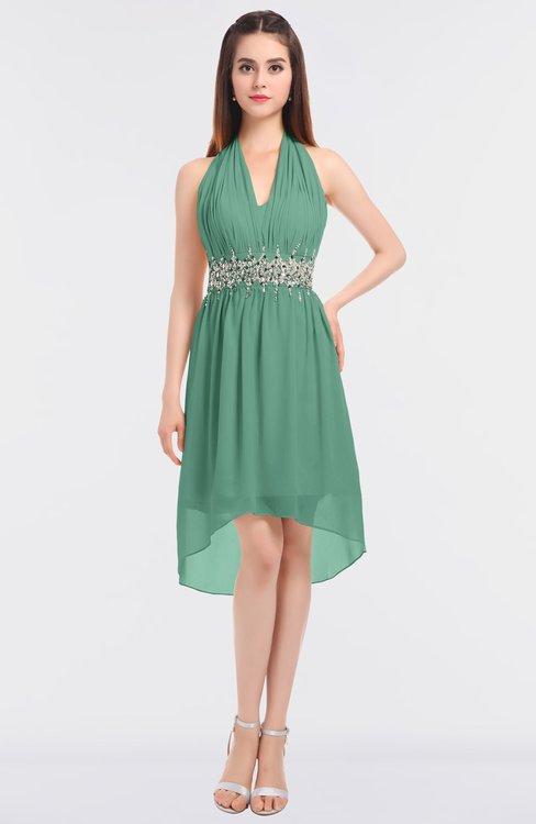 ColsBM Zuri Beryl Green Glamorous A-line Halter Sleeveless Zip up Appliques Bridesmaid Dresses
