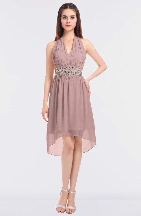 ColsBM Zuri Blush Pink Glamorous A-line Halter Sleeveless Zip up Appliques Bridesmaid Dresses