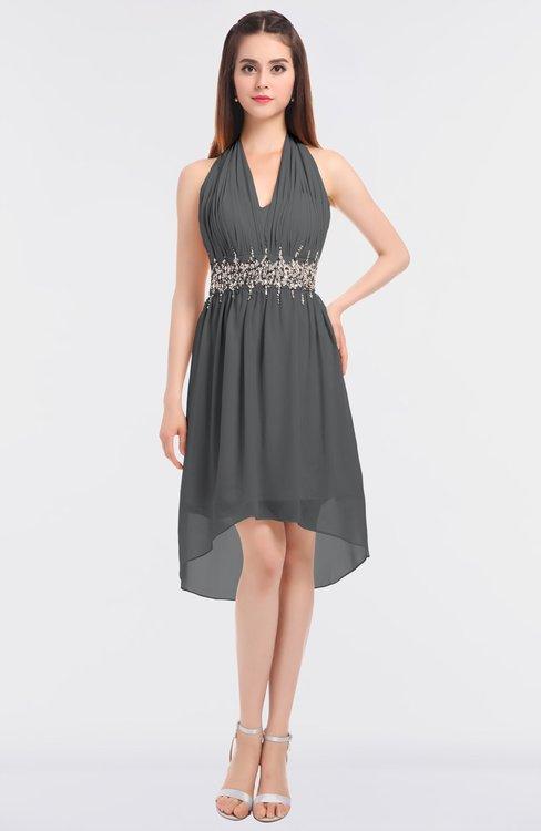 ColsBM Zuri Grey Glamorous A-line Halter Sleeveless Zip up Appliques Bridesmaid Dresses