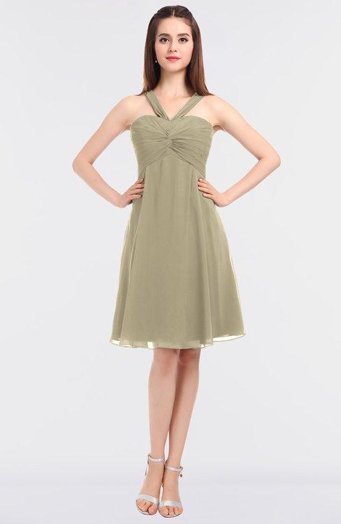 ColsBM Jessica Candied Ginger Modern Spaghetti Sleeveless Zip up Knee Length Ruching Bridesmaid Dresses