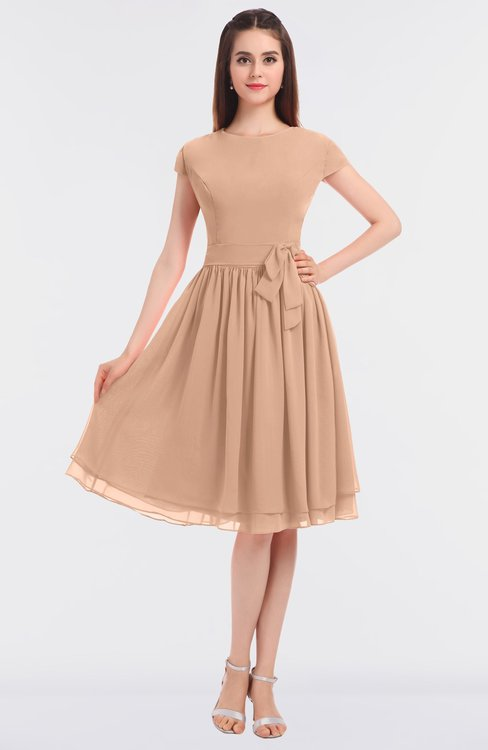 ColsBM Bella Almost Apricot Modest A-line Short Sleeve Zip up Flower Bridesmaid Dresses