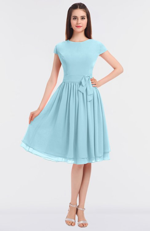 ColsBM Bella Aqua Modest A-line Short Sleeve Zip up Flower Bridesmaid Dresses