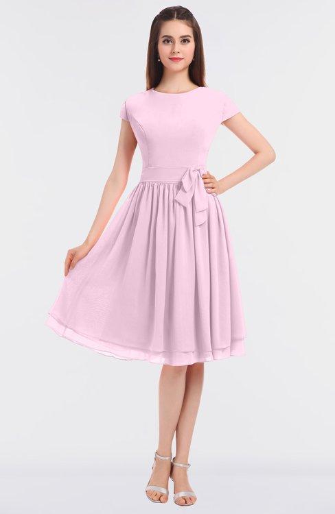 ColsBM Bella Baby Pink Modest A-line Short Sleeve Zip up Flower Bridesmaid Dresses
