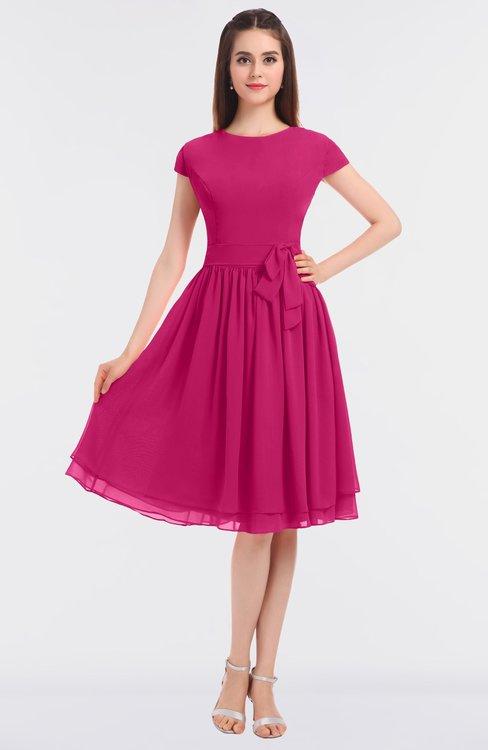ColsBM Bella Beetroot Purple Modest A-line Short Sleeve Zip up Flower Bridesmaid Dresses