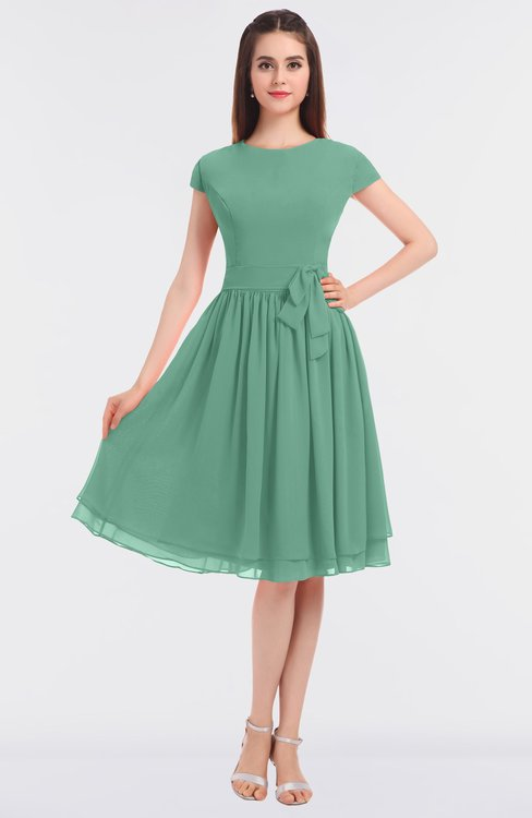 ColsBM Bella Beryl Green Modest A-line Short Sleeve Zip up Flower Bridesmaid Dresses
