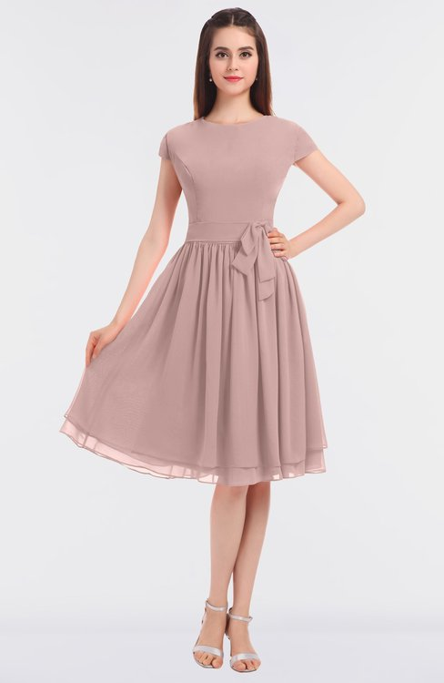 ColsBM Bella Blush Pink Modest A-line Short Sleeve Zip up Flower Bridesmaid Dresses