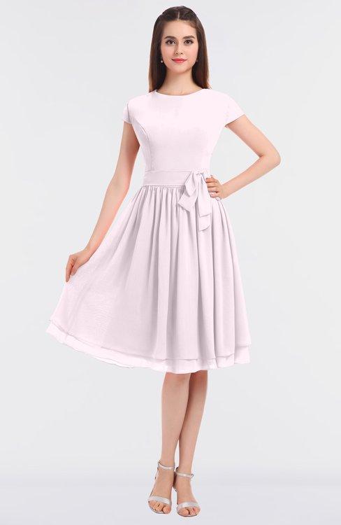 ColsBM Bella Blush Modest A-line Short Sleeve Zip up Flower Bridesmaid Dresses