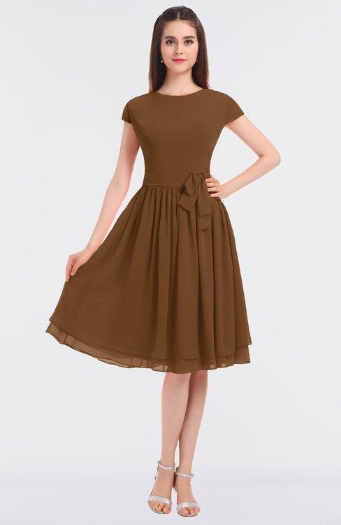 ColsBM Bella Brown Modest A-line Short Sleeve Zip up Flower Bridesmaid Dresses