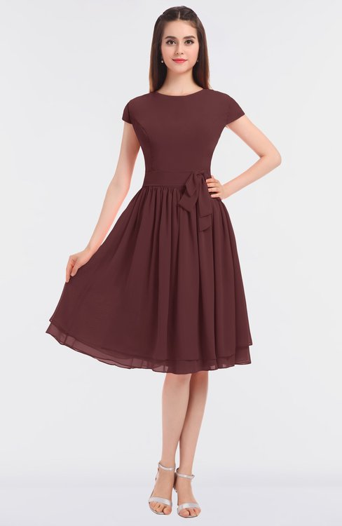 ColsBM Bella Burgundy Modest A-line Short Sleeve Zip up Flower Bridesmaid Dresses