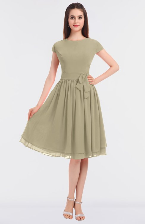 ColsBM Bella Candied Ginger Modest A-line Short Sleeve Zip up Flower Bridesmaid Dresses