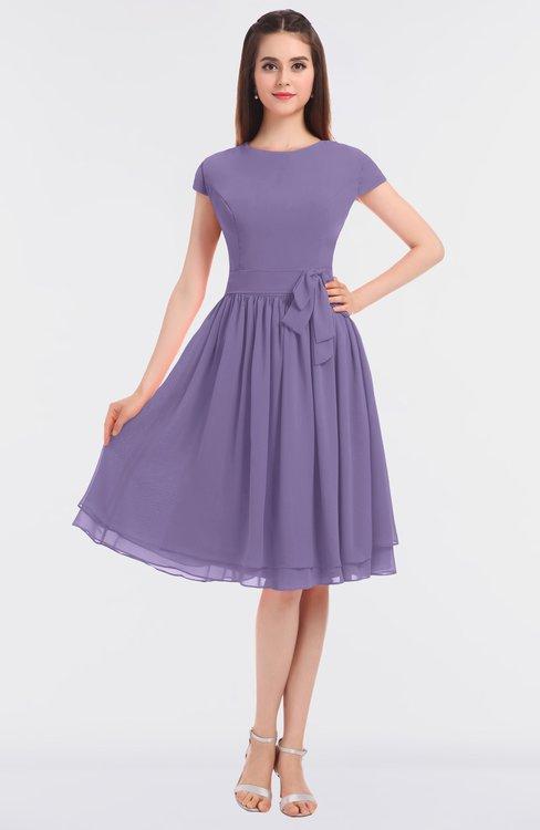 ColsBM Bella Chalk Violet Modest A-line Short Sleeve Zip up Flower Bridesmaid Dresses