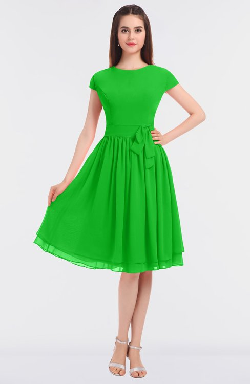 ColsBM Bella Classic Green Modest A-line Short Sleeve Zip up Flower Bridesmaid Dresses