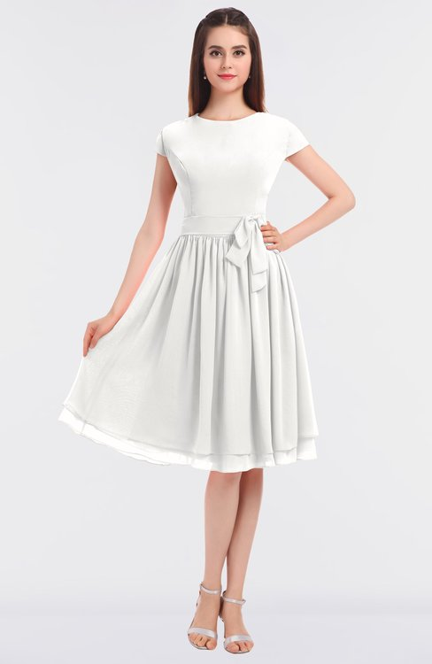 ColsBM Bella Cloud White Modest A-line Short Sleeve Zip up Flower Bridesmaid Dresses