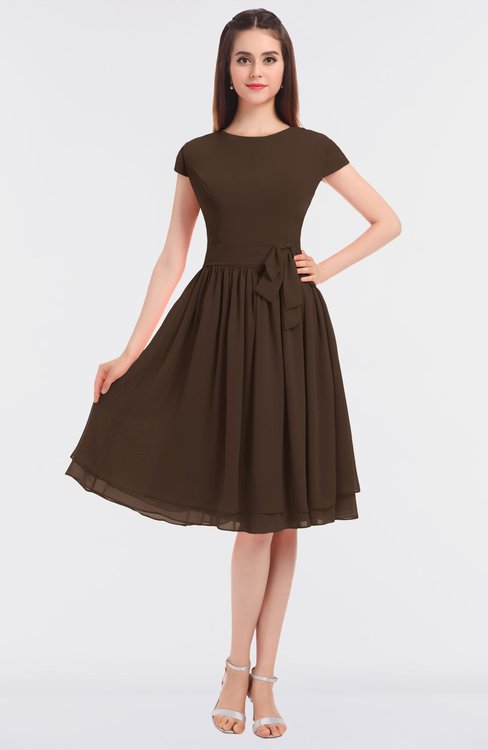 ColsBM Bella Copper Modest A-line Short Sleeve Zip up Flower Bridesmaid Dresses