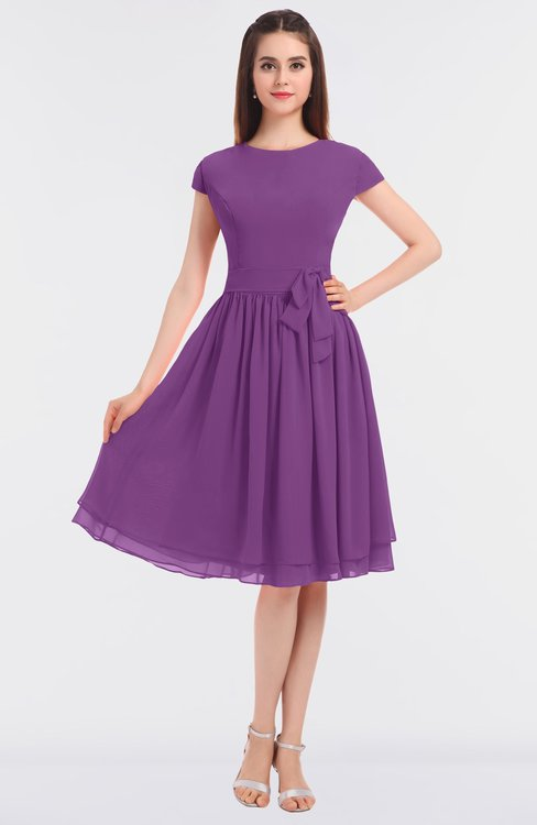 ColsBM Bella Dahlia Modest A-line Short Sleeve Zip up Flower Bridesmaid Dresses
