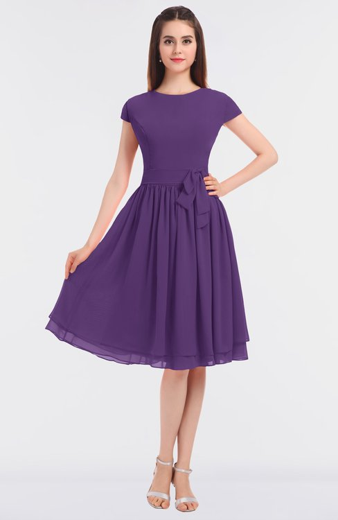 ColsBM Bella Dark Purple Modest A-line Short Sleeve Zip up Flower Bridesmaid Dresses