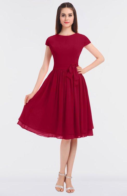 ColsBM Bella Dark Red Modest A-line Short Sleeve Zip up Flower Bridesmaid Dresses