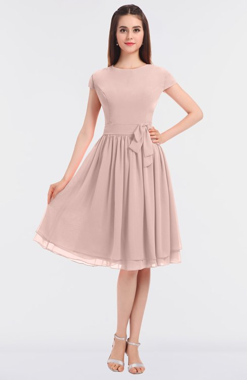 ColsBM Bella Dusty Rose Modest A-line Short Sleeve Zip up Flower Bridesmaid Dresses