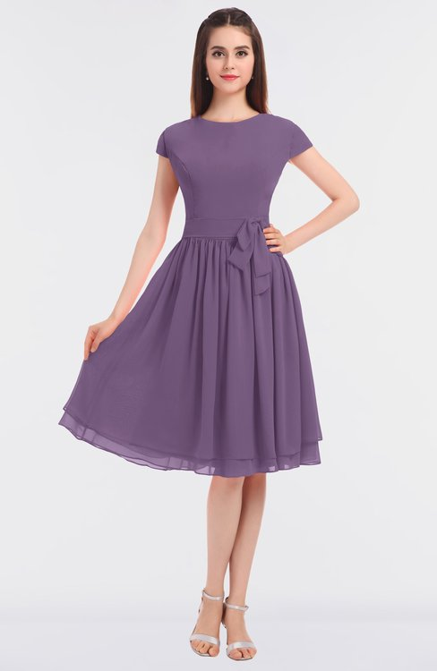 ColsBM Bella Eggplant Modest A-line Short Sleeve Zip up Flower Bridesmaid Dresses