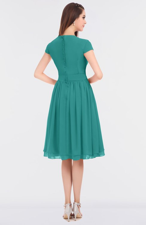 Colsbm Bella Emerald Green Modest A Line Short Sleeve Zip Up Flower Bridesmaid Dresses