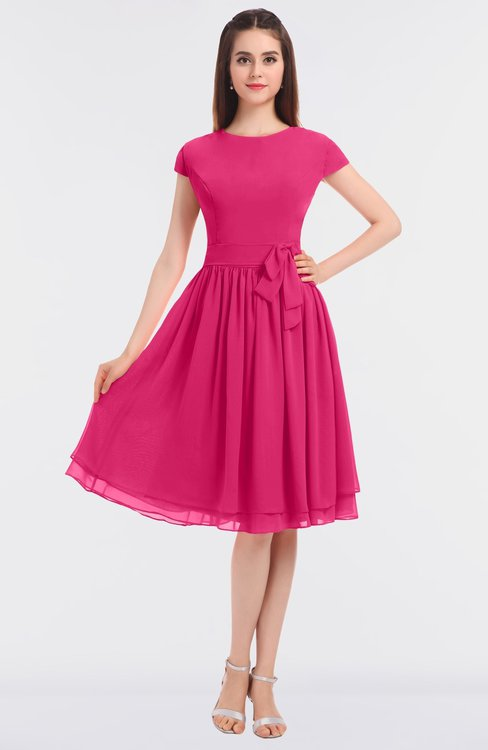 ColsBM Bella Fuschia Modest A-line Short Sleeve Zip up Flower Bridesmaid Dresses