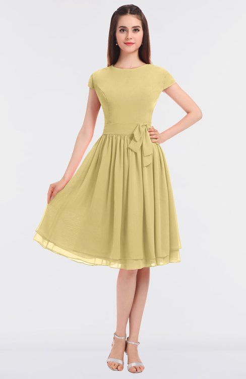 ColsBM Bella Gold Modest A-line Short Sleeve Zip up Flower Bridesmaid Dresses