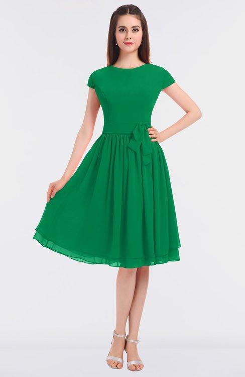 ColsBM Bella Green Modest A-line Short Sleeve Zip up Flower Bridesmaid Dresses