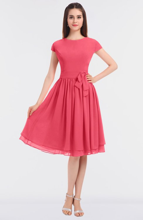ColsBM Bella Guava Modest A-line Short Sleeve Zip up Flower Bridesmaid Dresses