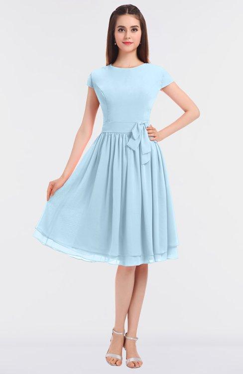 ColsBM Bella Ice Blue Modest A-line Short Sleeve Zip up Flower Bridesmaid Dresses
